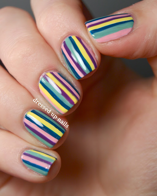 Dressed Up Nails - multicolor stripes nail art