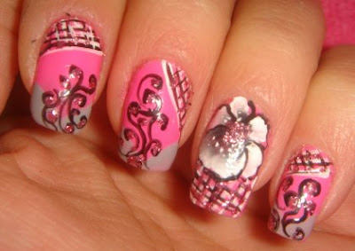 flower+nail+art+ideas Pink nails design   Magic Nail Manicure ideas in pinky shades