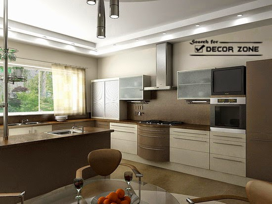 Kitchen Ceiling Designs With Backlight Illumination Systems