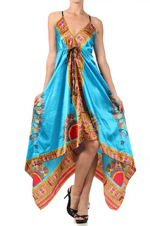 Aqua print handkerchief dress