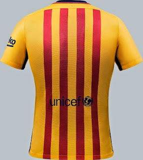 gambar photo kamera Detail bagian belakang jersey Barcelona away terbaru musim 2015/2016