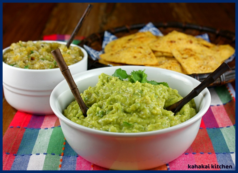 Green Guacamole with Roasted Tomatillo Salsa w/ Serranos, Roasted ...