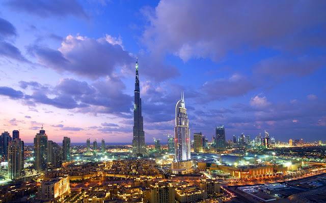 Dubai Wonderful Burj Khalifa At Sunset United Arab Emirates HD Desktop Wallpaper