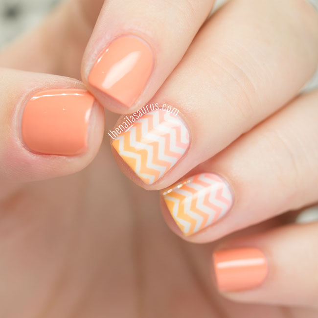 Orange Gradient Chevron Nail Art