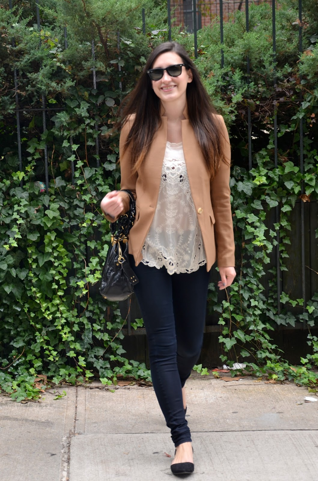 camel blazer + embroidered top + black pants