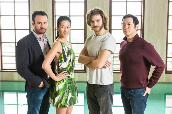 Da esquerda para a direita: Patrick Macmanus (Produtor Executivo), Olivia Cheng (Mei Lin), Lorenzo Richelmy (Marco Polo) e Chin Han (Jia Sidao) Crédito da foto: Henrique Manreza para Netflix