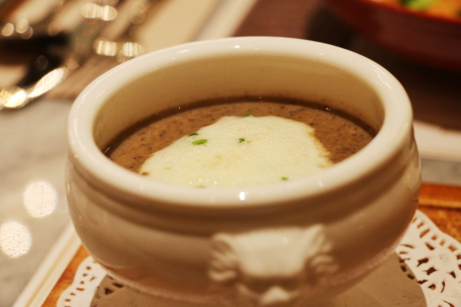 Wild Mushroom Soup (60k). Mixed with chives chantilly and served with ...