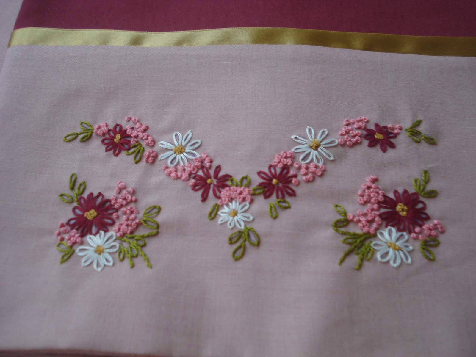 Hand Embroidery On Pillow Cases..