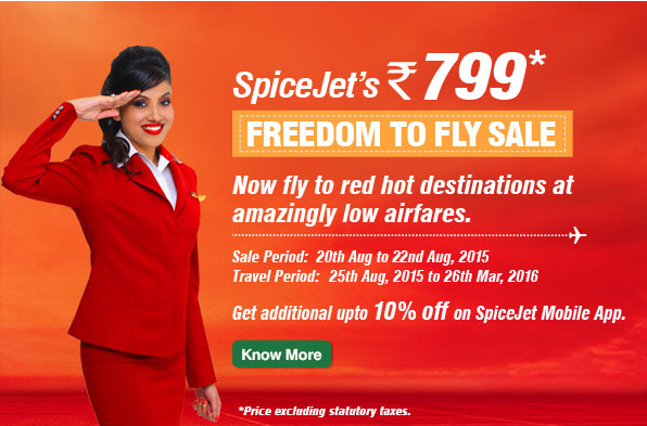 SpiceJet Rs.799 Freedom to Fly Sale Offer Description & Details