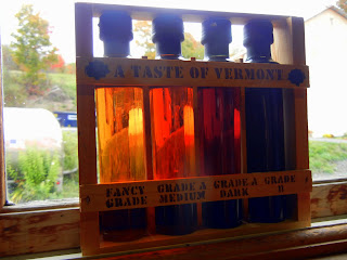 Grades of Vermont maple syrup in a Vermont sugarhouse