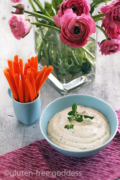 Karina's gluten-free vegan veggie dip with carrot sticks.