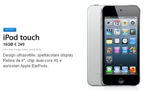 Taglio di prezzi per l'iPod Touch che però ha solamente 16 GB di memoria interna e non ha più la fotocamera posteriore