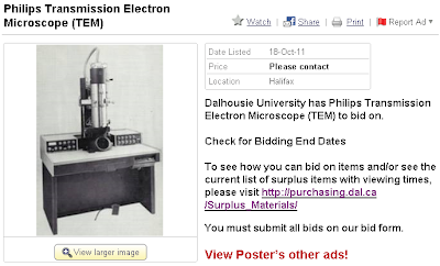 Old electron microscope from Dalhousie