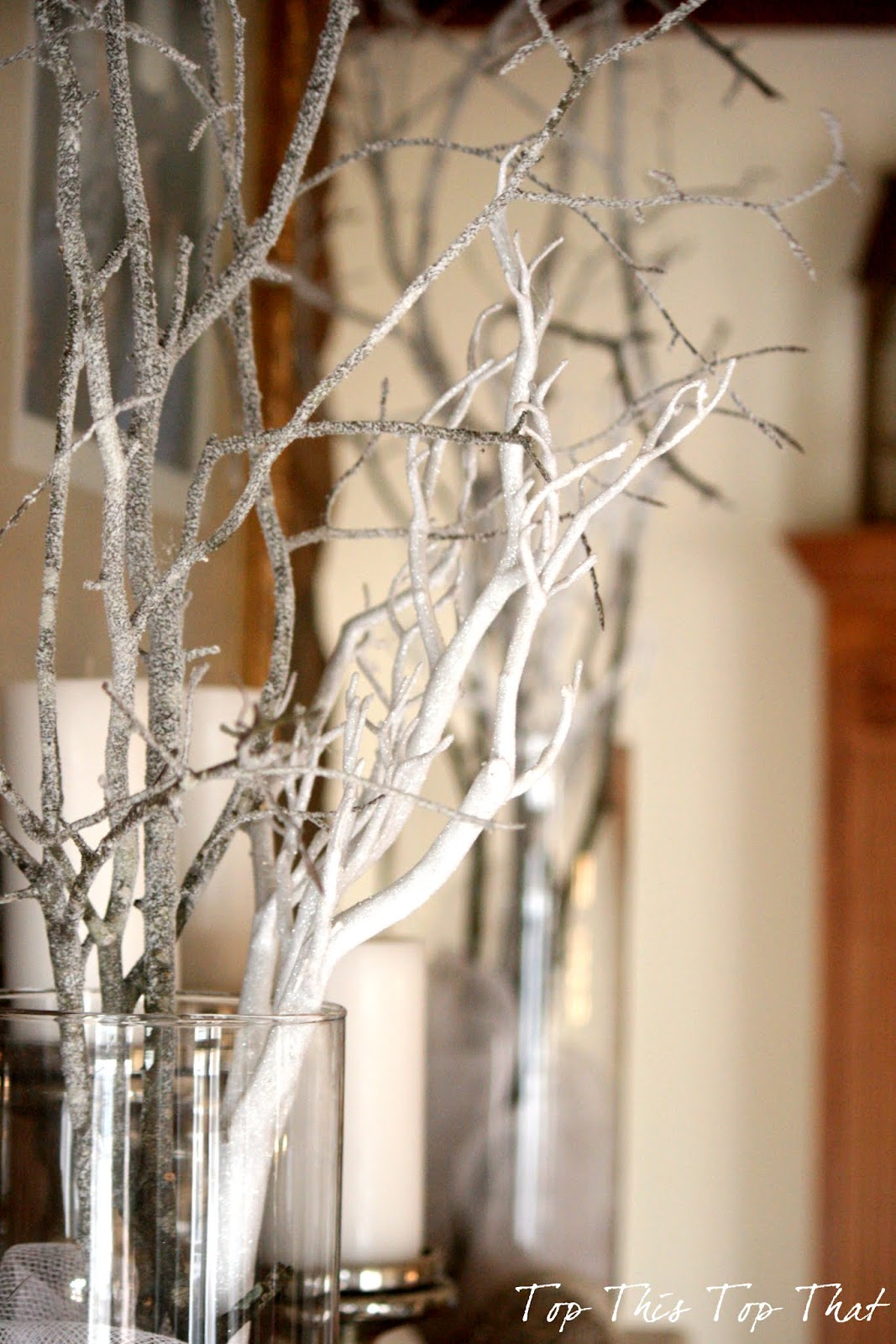 up some branches from the yard and sprayed them with snow in a can. Black Bedroom Furniture Sets. Home Design Ideas
