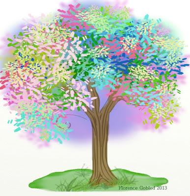 Illustration numérique d'un arbre très coloré qui annonce la signature d'un contrat, en noir et blanc, celui-là. Florence Gobled, auteur de livres pour enfants et illustrateur jeunesse illustrera une anthologie sur le thème de l'arbre publiée par Angel publications