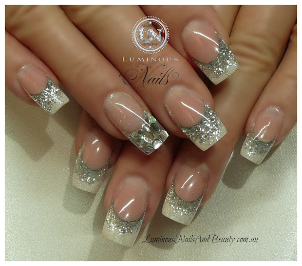acrylic nail design glitter tips