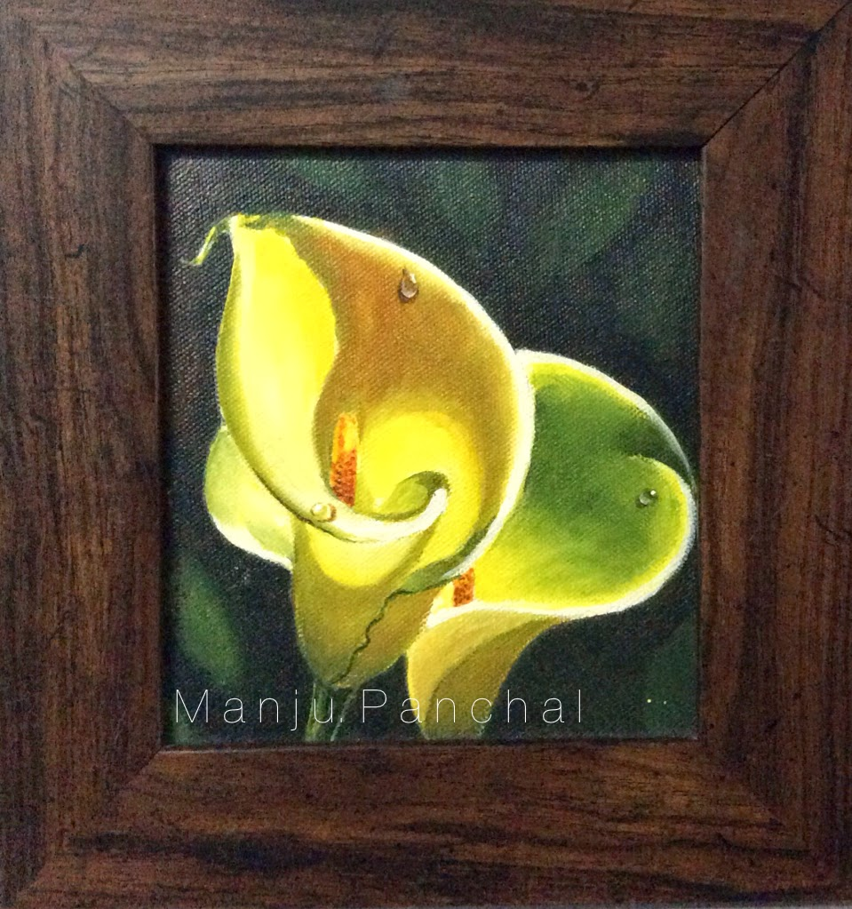 acrylic painting of flower with waterdrop by manju panchal