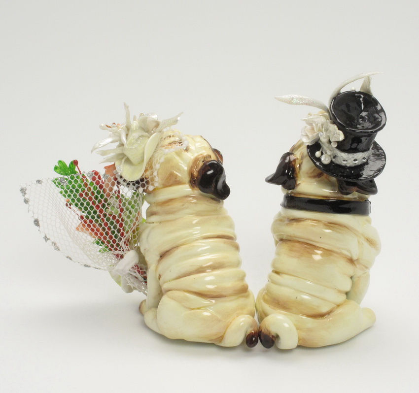 madamepOmmcustomorder: Pug Wedding Cake Topper