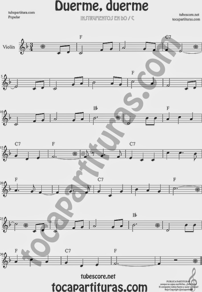 Duerme Duerme Partitura Popular de Violín Sheet Music for Violin Music Scores Music Scores (partitura en sol mayor arriba)