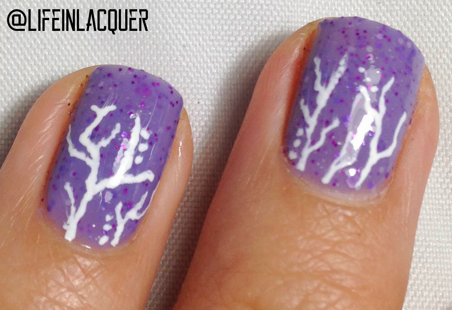 Life In Lacquer Purple Cracked Nail Art