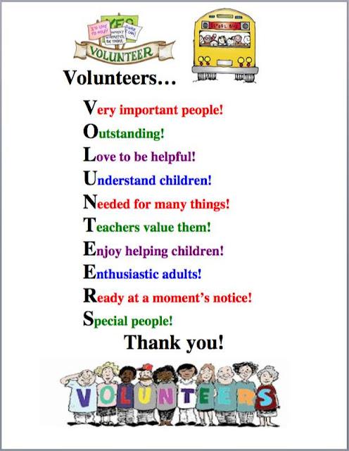 ... well Thank You Volunteers Poems. on parent appreciation art activities
