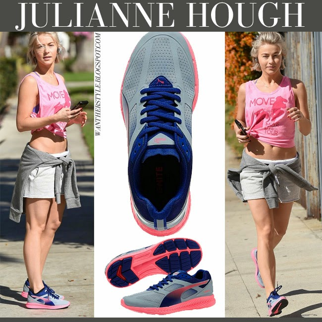 Julianne Hough in Ignite Puma running grey blue and pink sneakers workout clothes fashion