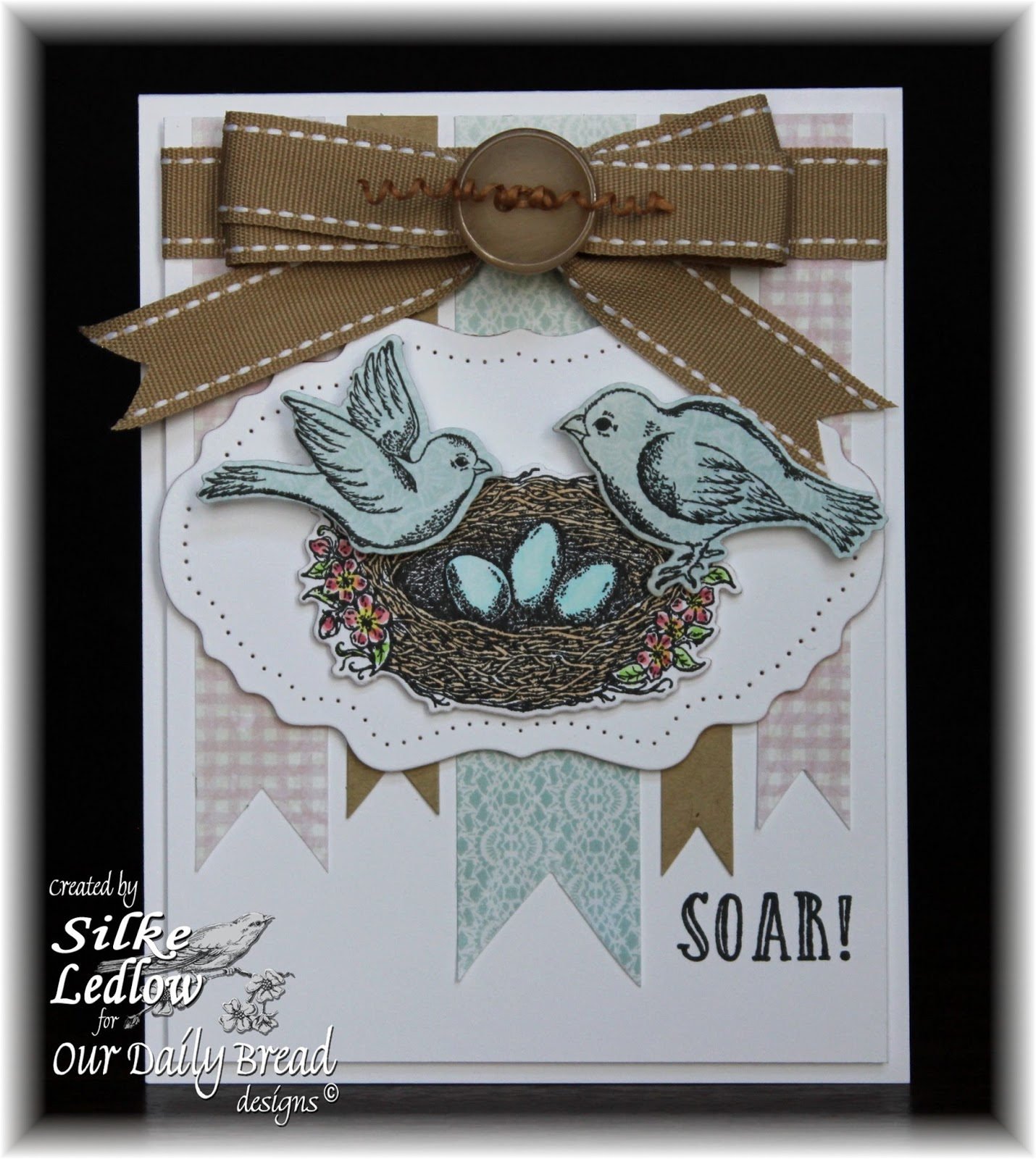 Stamps - Our Daily Bread Designs Spread Your Wings, ODBD Custom Dies: Birds and Nest, Vintage Flourished Pattern, ODBD Shabby Rose Paper Collection