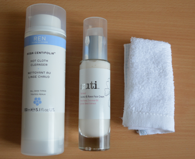 Ren rosa centifolia hot cloth cleanser, Suti honour coconut and rose face cream