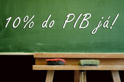 Queremos 10% do PIB para educação já! (Lousa escolar com a frase escrita)