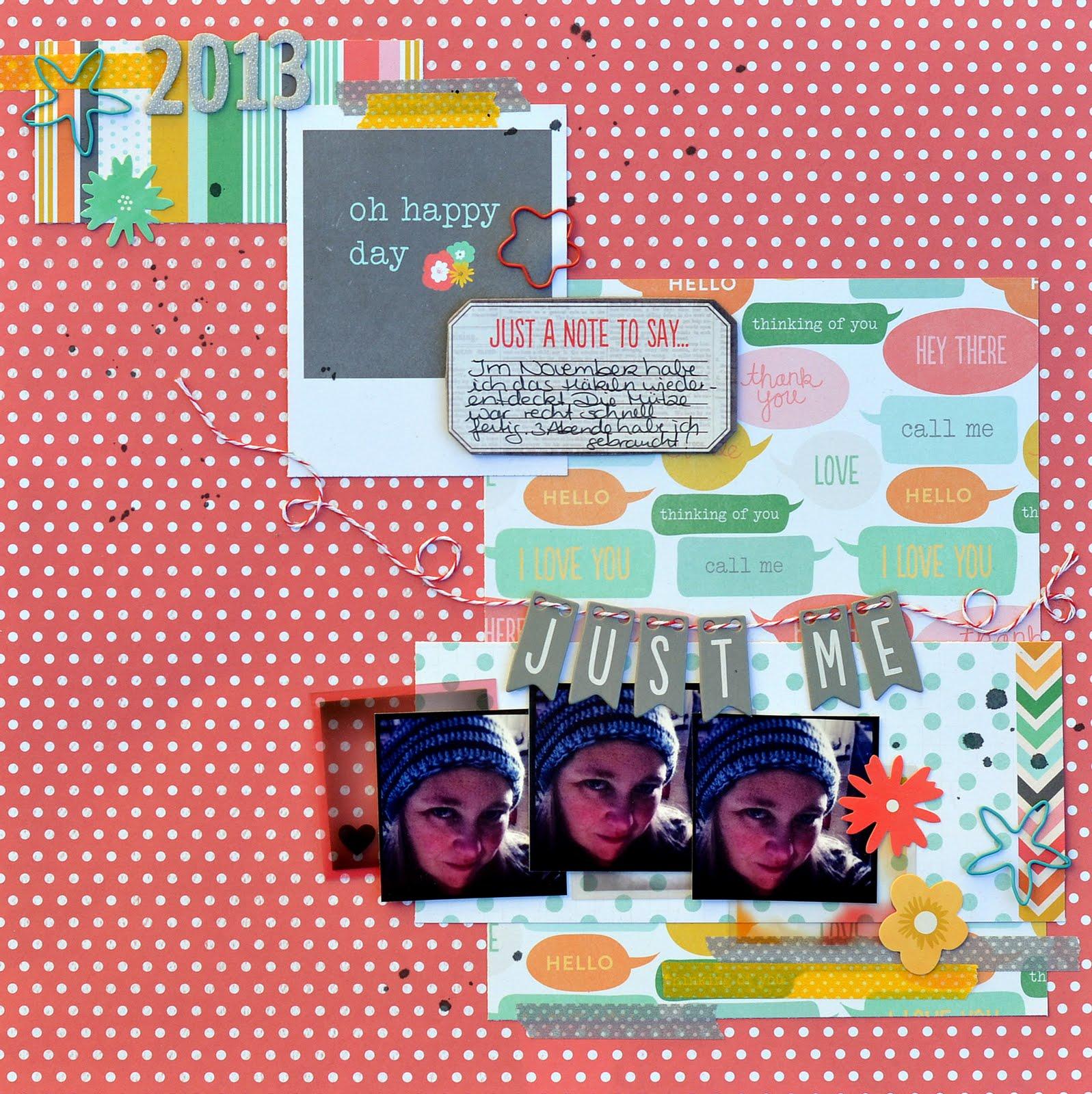 How to make scrapbook about yourself - Just Me Scrapbook Layout With From Me To You By Pebbles