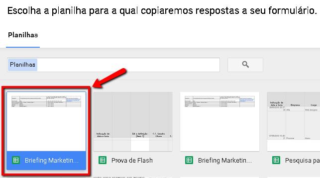 Escolher destino da resposta no formulário do Google a partir de uma planilha existente