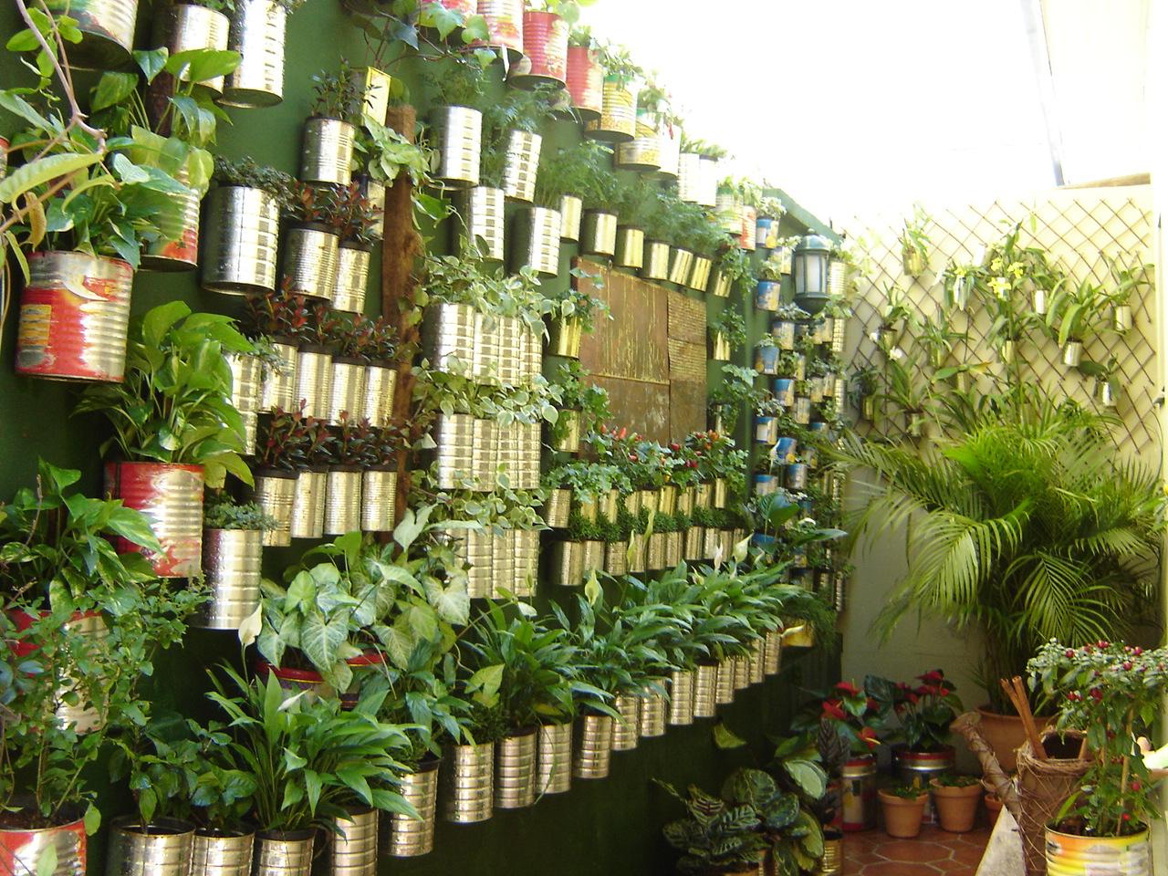 jardim vertical latas:JARDIM VERTICAL