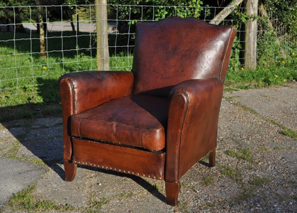 Antique Leather Club Chair, c1930