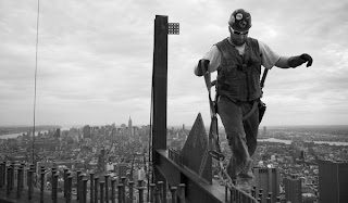 Balancing construction worker at Twin Towers