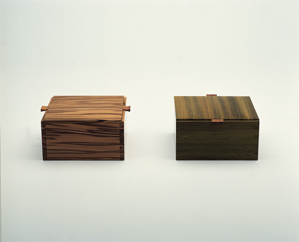 Yaffe Mays, Two of ten boxes made for the Of Colour in Craft exhibition. 2002.