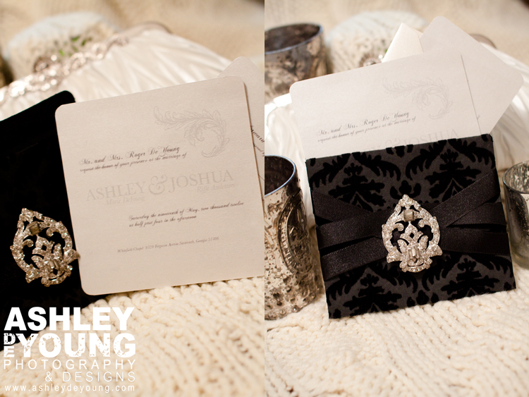 Black damask do it yourself wedding invitation template Ashley DeYoung
