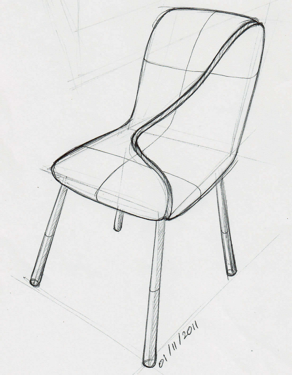 162 Cracked Chair 1001 Chair Sketches