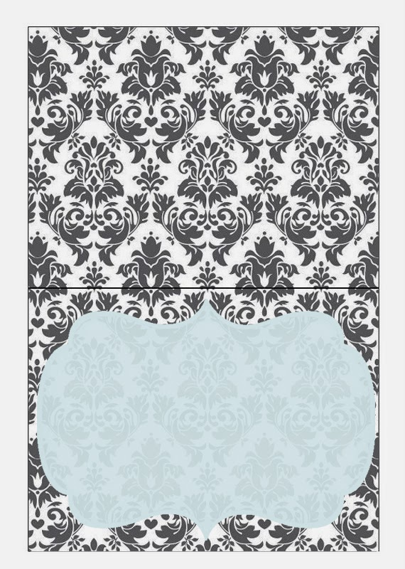 Grey Damasks in Blue Free Printable Candy Bar Labels.