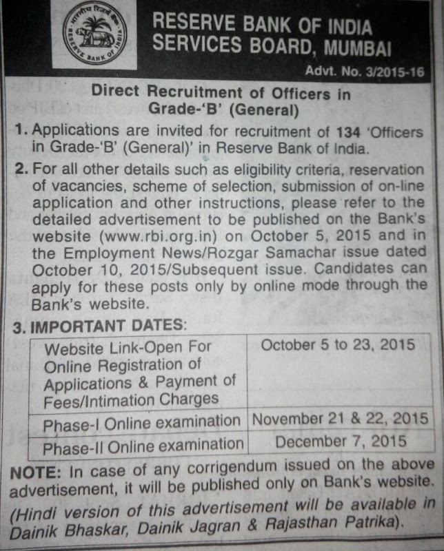 RBI Grade B Officers Notification 2015 - Apply For 134 Officers Post