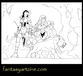 Rogue sword girl and knight woman with fantasy pet.