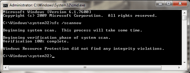 Executing sfc /scannow command in command prompt
