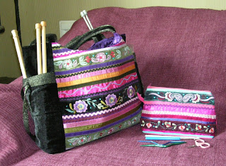 velvet knitting craft bag