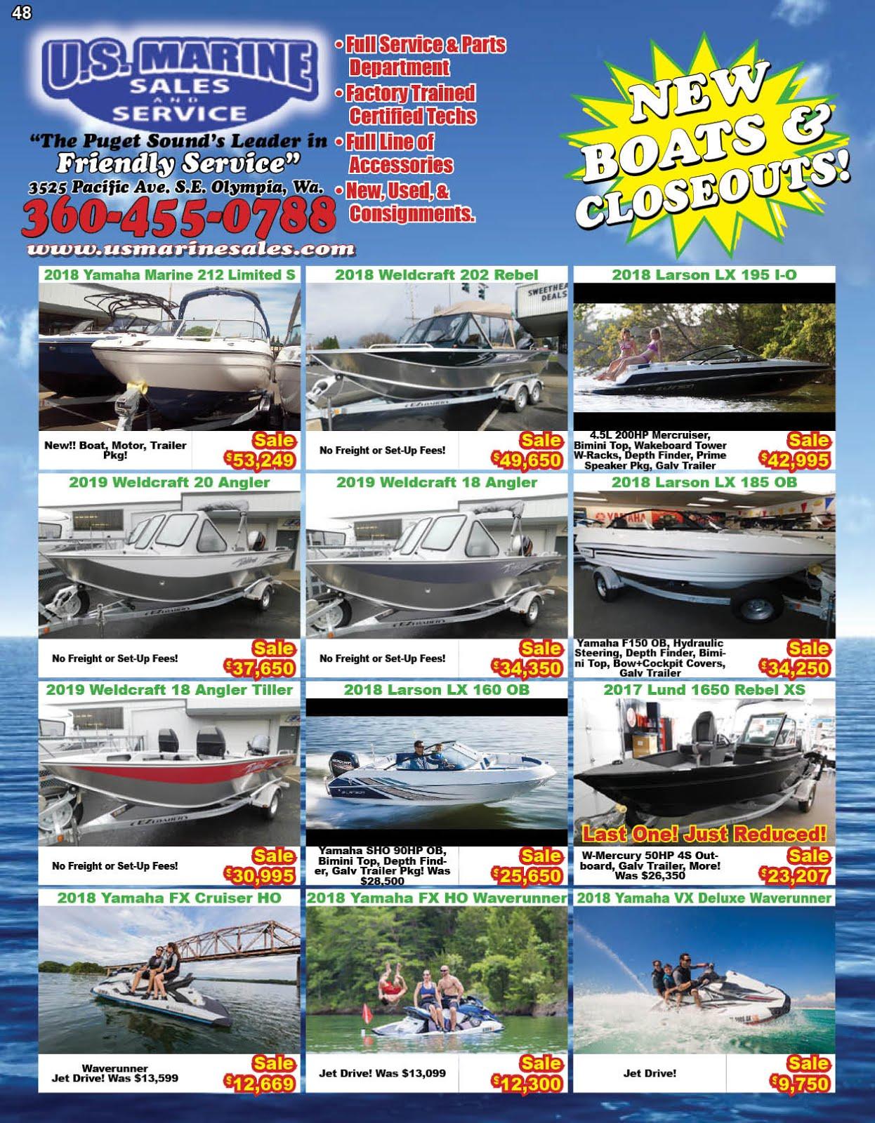 US Marine Sales & Service Carries Yamaha Marine, Weldcraft, Lund, G3 & Suncatcher Pontoons!
