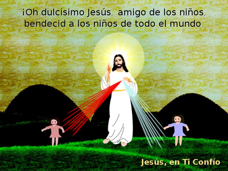 cristo jesus en pradera con niñas