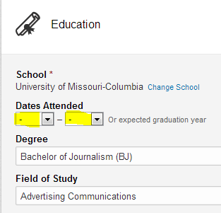 LinkedIn education section, remove years from LinkedIn education section,