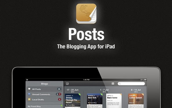 Posts blogging app for iPad