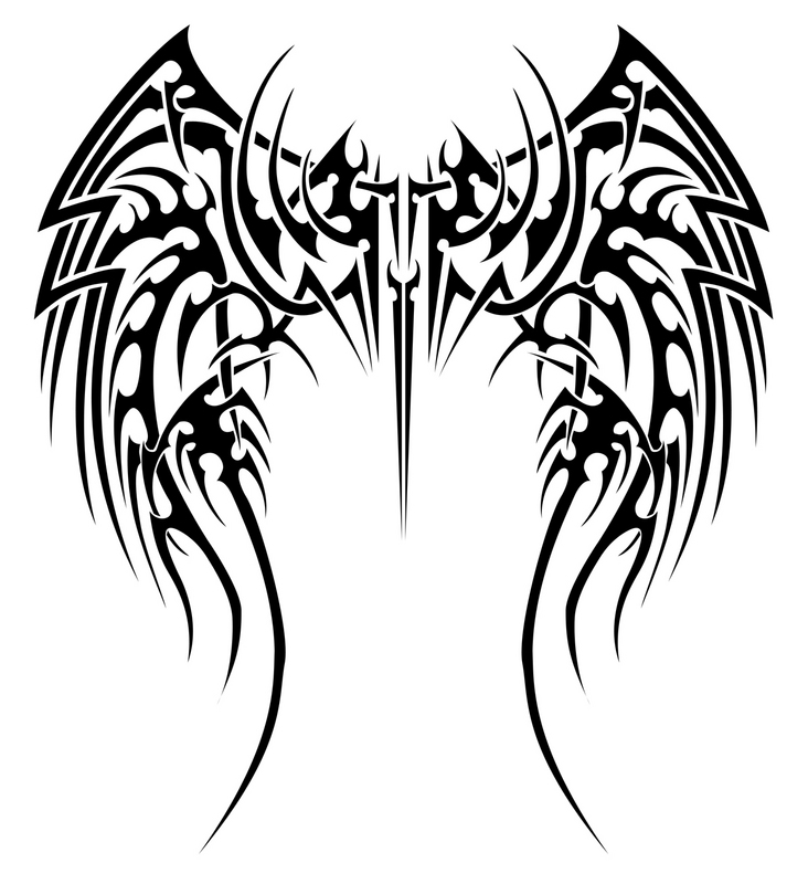 Tribal Angel Wings Tattoo Designs