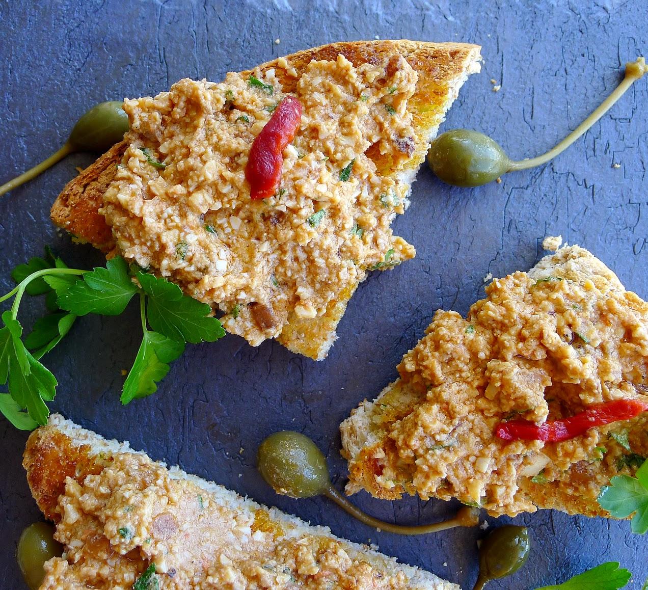 Monkfish liver pâté on toasts.