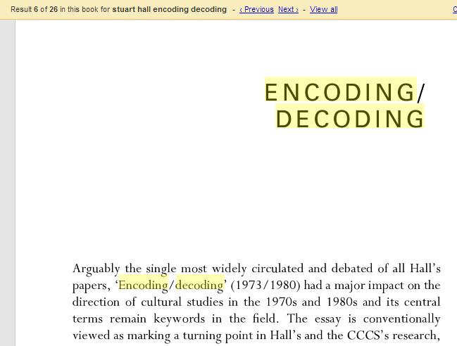 stuart hall encoding and decoding essay