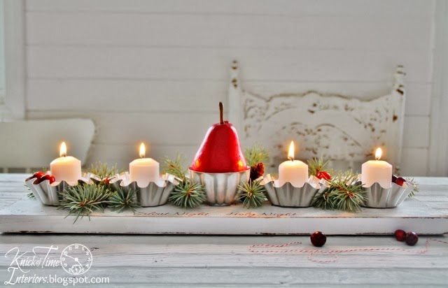 Repurposed Christmas Candle Holder Centerpiece via KnickofTime.net